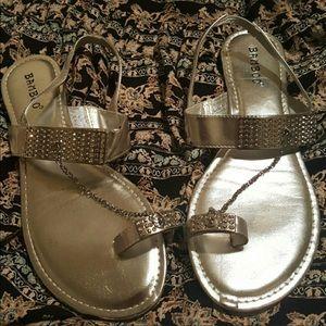 Silver rhinestone bamboo sandals
